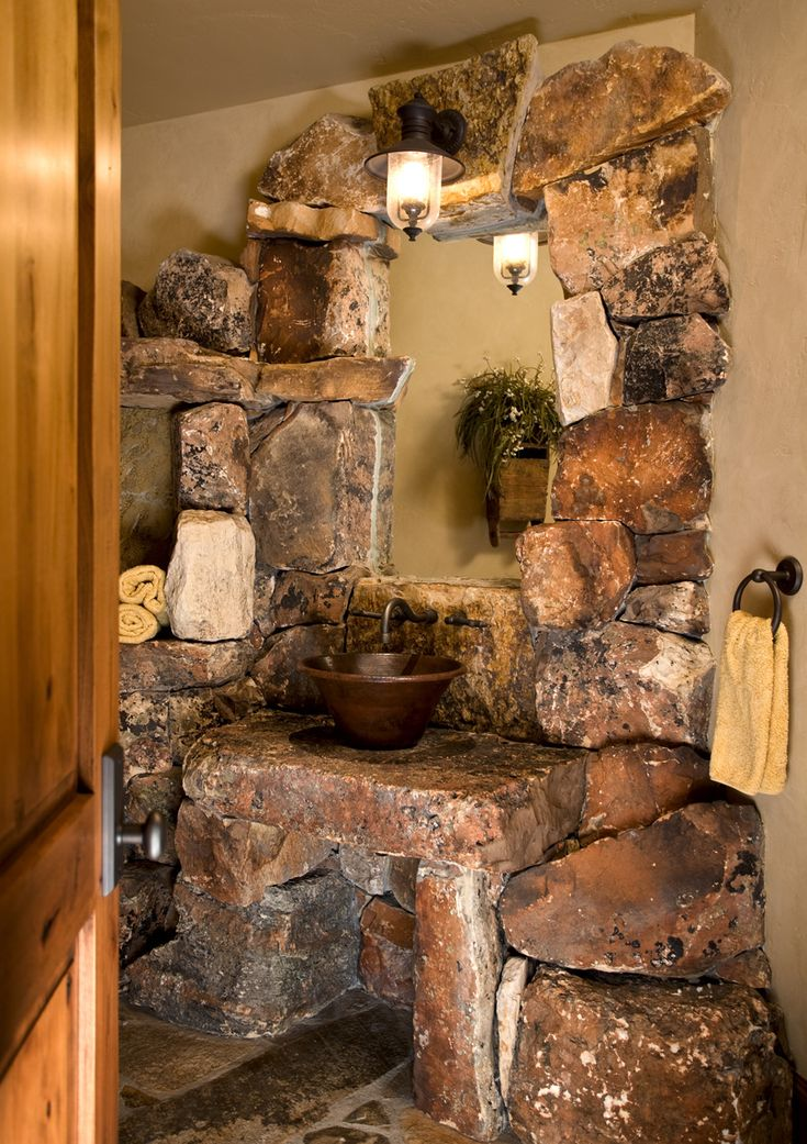1213 best images about design ideas on pinterest log for Rustic stone bathroom designs