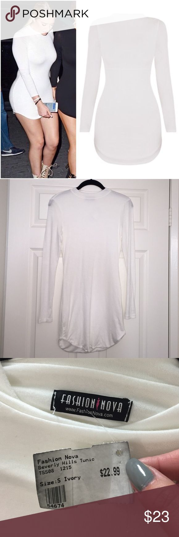 NWT Beverly Hills Tunic Fashion Nova Ivory Small S Brand new with tags. A bit too short on me. Size Small. Ivory. There is a stain on the back of one of the sleeves. Not really sure what happened there but I noticed it while taking these photos. Not super noticeable since its on the inside back of the sleeve but def needs mentioning. It may come out in the wash but I can't be sure. Be careful these do shrink! Line dry!! (I have them in black too that I've worn so that's how I know 🙈) Body…