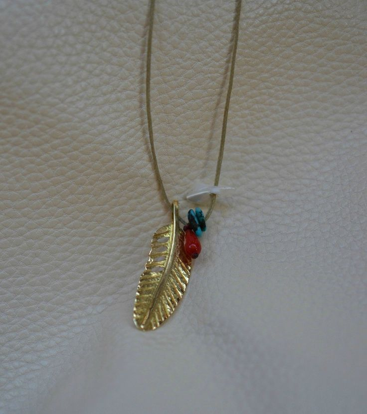 Live Free Feather Pendant Handmade Solid 18K Gold by ViazisJewelry on Etsy