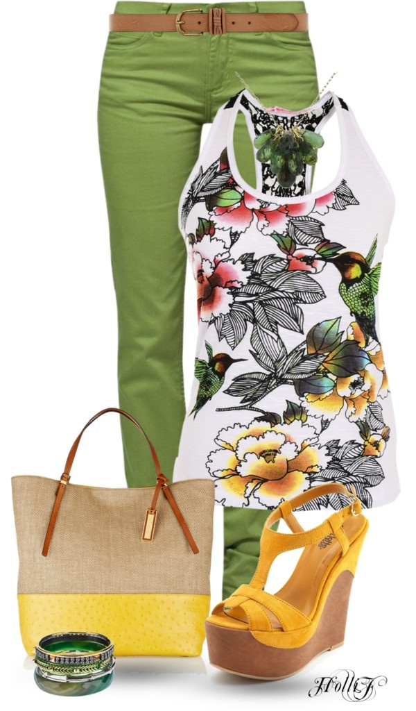 """* COLORED JEANS * GREEN"" by hrfost1210 ❤ liked on Polyvore"