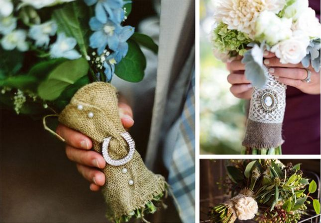 Some gorgeous bouquet handles using burlap.