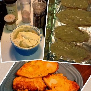 Baked chicken with Greek yogurt. Very good flavor and nice color. I added turmeric, minced garlic, salt and pepper to plain low fat Greek yogurt. Coat both sides of the chicken and baked till cooked through. If the chicken does not brown turn on broiler for last minute or so cooking.