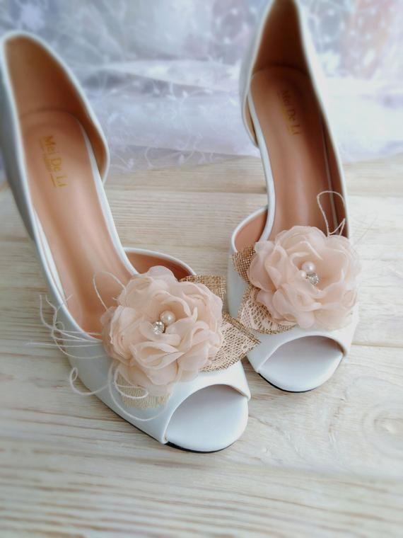 Rustic Wedding Shoe Clips Champagne Bridal Silk Flower Shoe Clips
