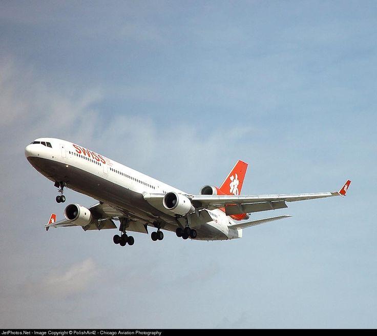 McDonnell Douglas MD-11, Swiss, HB-IWN, cn 48539/571, first flight 7/1994 (Swissair), Swiss delivered 31.3.2002, next Varig (2.7.2004). Active, United Parcel Service (UPS), (22.1.2007). Foto: Chicago, USA, 30.3.2002.