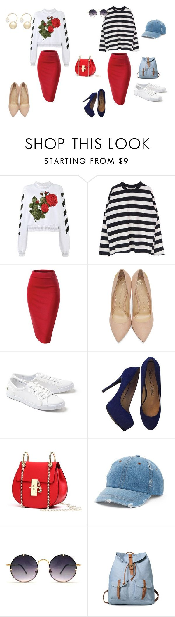 """ЮБКА-КАРАНДАШ_2 ОБРАЗА_1"" by yana-ardysheva on Polyvore featuring мода, Off-White, Charlotte Olympia, Lacoste, Pour La Victoire, Mudd, Spitfire и Witchery"