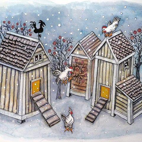 #childrensillustration #childrenstories #kidsillustration #kidlitart #illustrator #illustration #snowing #winterfun #winter #chicken #henhouse #jumping #naïveart #artenaif