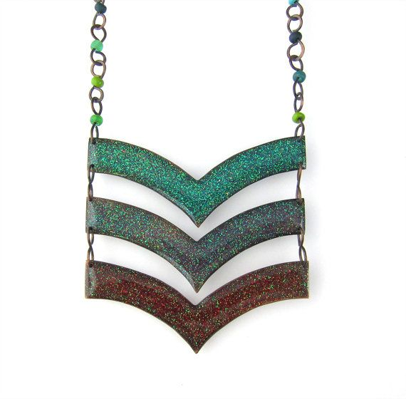 Handmade Copper and Glitter Chevron Necklace by LaurelNathanson