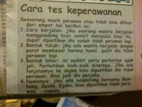 """Cara tes """"Keperawanan"""" Pict No BB"""