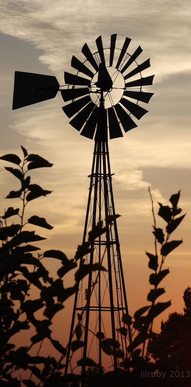 """Windmill silhouette"" by lilruby on Flickr - This photograph was taken on July 2, 2013."