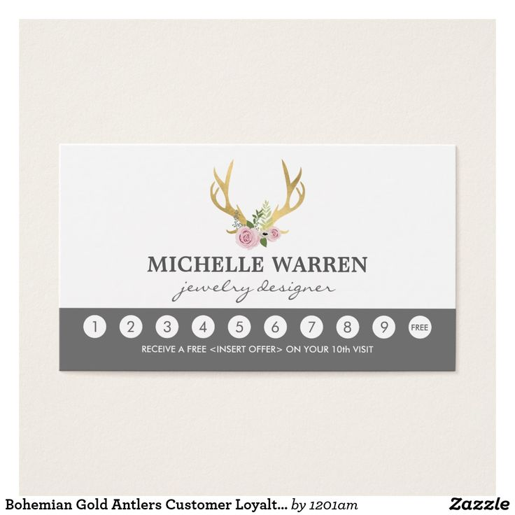 18 best small business tools referral cards stationery images on bohemian gold antlers customer loyalty punch card flashek Images