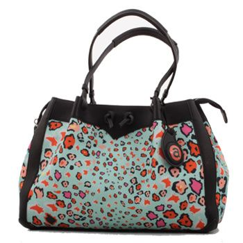 Ardmore Ceramics Fabric and Leather Handbags: Leopard Lights Kingfisher