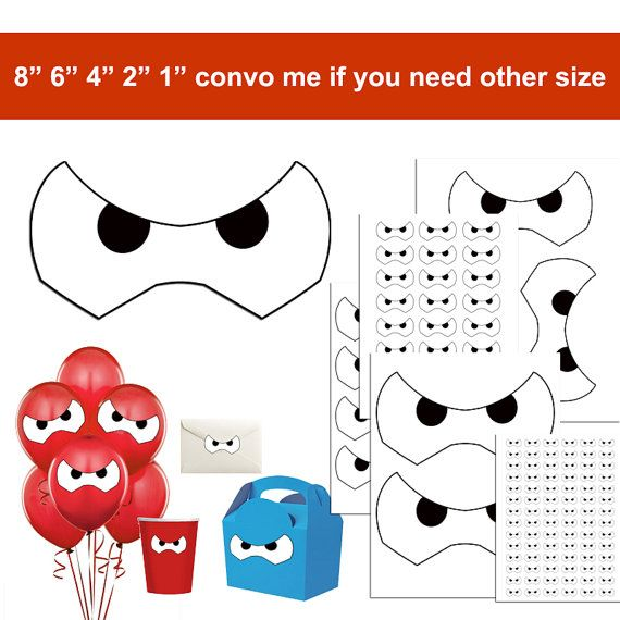 INSTANT DOWNLOAD Big Hero 6 Baymax Stickers, Baymax Eyes, Face, Birthday party Favor Labels Tags, cup, shirt, balloons 002
