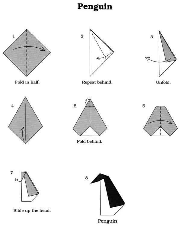 Origami Fun Kit for Beginners- Penguin    NB:  Start with a perfectly square piece of paper
