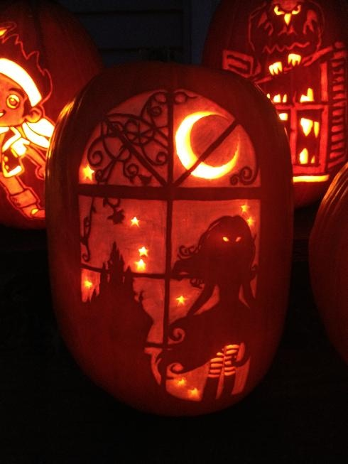 In the Dark pattern from Stoneykins.com Carved by WynterSolstice on a real pumpkin