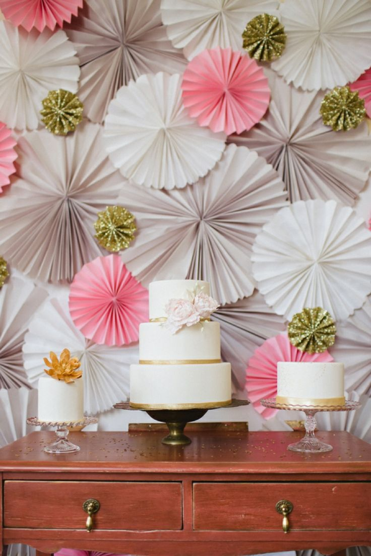 wedding cake backdrop glittering pink and gold wedding inspiration table 21773
