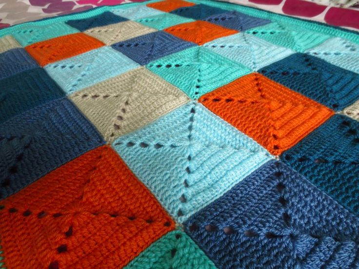 Boy Colours | Little Tin Bird | Crochet Granny Square Blanket Stylecraft Special DK