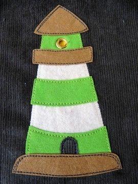 Süßer Leuchtturm der sich gut auf Kinderkleidung macht - Applikationsvorlage via Makerist.de