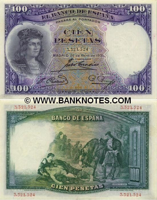 spain currency | Spain 100 Pesetas 1931 - Spanish Currency Bank Notes, Paper Money ...