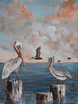"""LOUISIAN PELICAN SOUTHERN ART"" by Kip Hayes: PAINTING OF PELICANS HAVING A NICE BREAK AFTER FISHING. // Buy prints, posters, canvas and framed wall art directly from thousands of independent working artists at Imagekind.com."