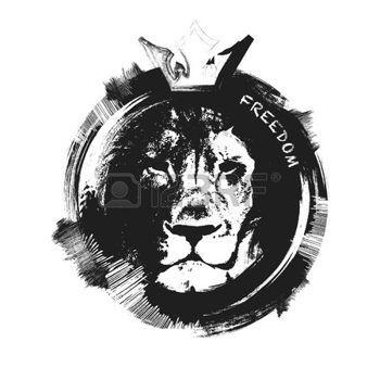 leone: testa di leone. disegnato a mano. Grunge illustrazione vettoriale