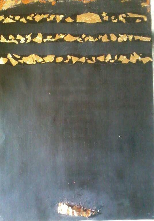 """Peinture : """"Al Kaaba"""" toile estampillée de feuilles d'or (: Gold Art, Leaves, Painting"""