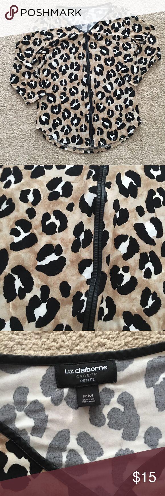 Liz Claiborne Animal Print Long Sleeve Shirt Liz Claiborne  Long Sleeve Shirt Animal Print  :: 039 Liz Claiborne Tops