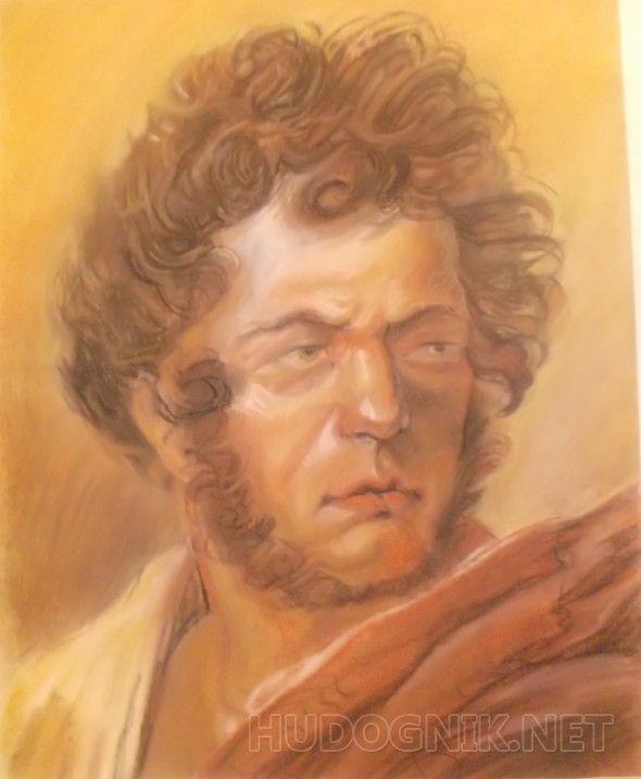 Орловский автопортрет в красном плаще Работа выполнена на пастельной бумаге сухими материалами (сангина,уголь,мел,охра,сепия)