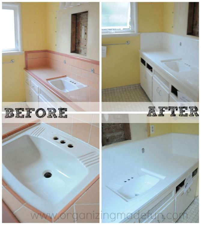 Before and after kids bath sink and countertop - Tile kids bathroom ...