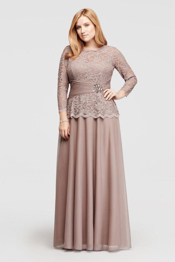 Plus Size Glitter Lace Long Sleeve Mother of Bride/Groom Dress - Mocha (Brown), 16W