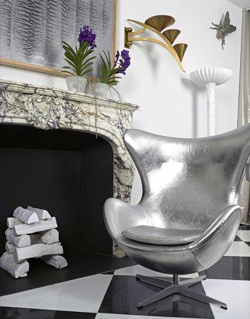 silver metallic egg chair