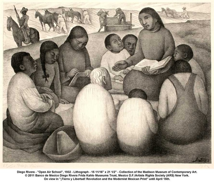 """artwork: Diego Rivera - """"Open Air School"""", 1932 - Lithograph - 15 11/16"""" x 21 1/2"""" - Collection of the Madison Museum of Contemporary Art. © 2011 Banco de Mexico Diego Rivera Frida Kahlo Museums Trust, Mexico D.F./Artists Rights Society (ARS) New York. On view in """"¡Tierra y Libertad! Revolution and the Modernist Mexican Print"""" until April 15th."""