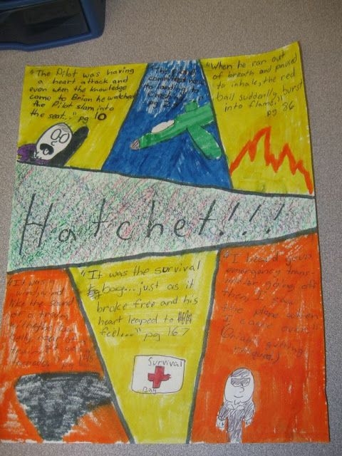 "The Fearless 5th Grade Teacher.......love these ""Stained Glass"" summaries she did with the book Hatchet they had read during shared reading! Would be a great summary for any book!"