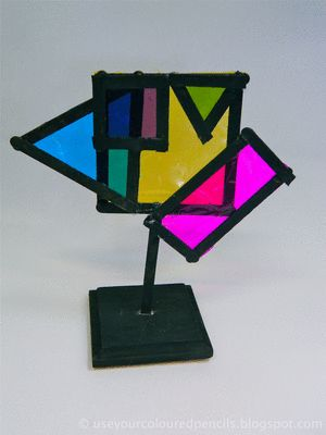 Mondrain Sculpture, use only red, yellow and blue tissue paper. 4th grade?
