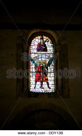 A stained glass window in San Justo and San Pastor Church, Segovia, Spain, 2007. Artist: Samuel Magal - Stock Image