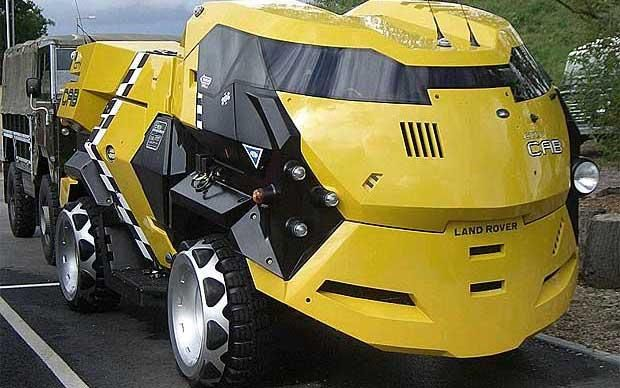 """City Cab Judge Dredd - being one of the coolest vehicles featured in the Judge dredd series, this vehicle was built for the Sylvester Stallone Judge Dredd film set. Article Quote: """"a futuristic body on top of an ancient Land Rover 101 chassis and drive train """""""