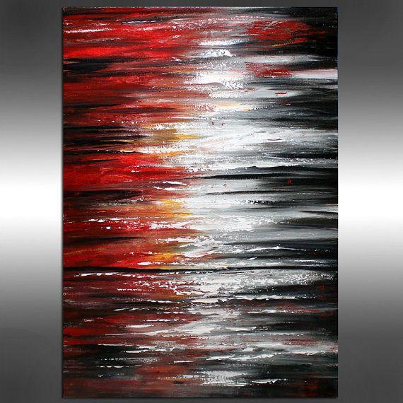 Rot-schwarz und weiß Ölgemälde – abstrakte Kunst Sonnenuntergang Stil, Landschaft-Unique-Kunst auf Leinwand Wandkunst von LARGEARTWORK