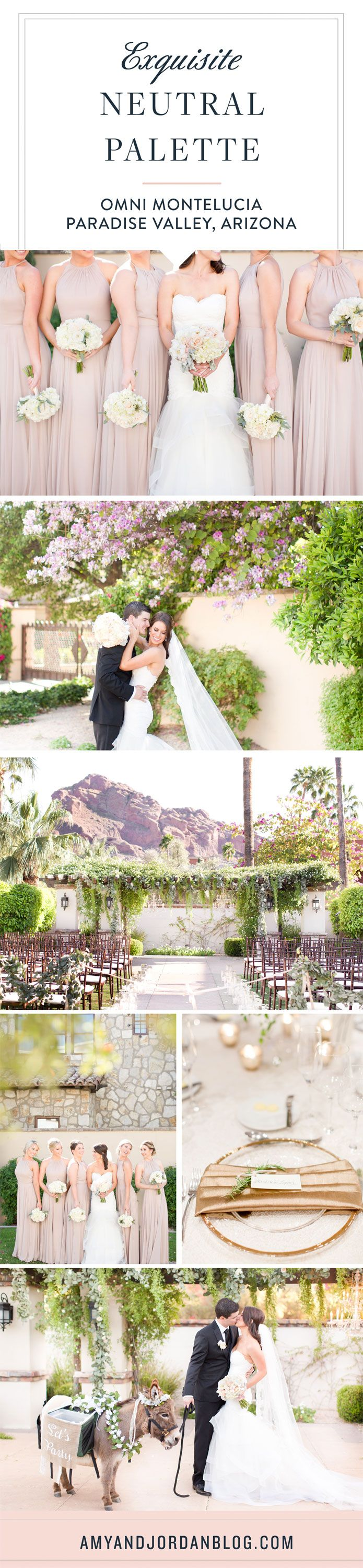 Exquisite neutral palette wedding at the stunning Montelucia resort in Paradise Valley, Arizona.