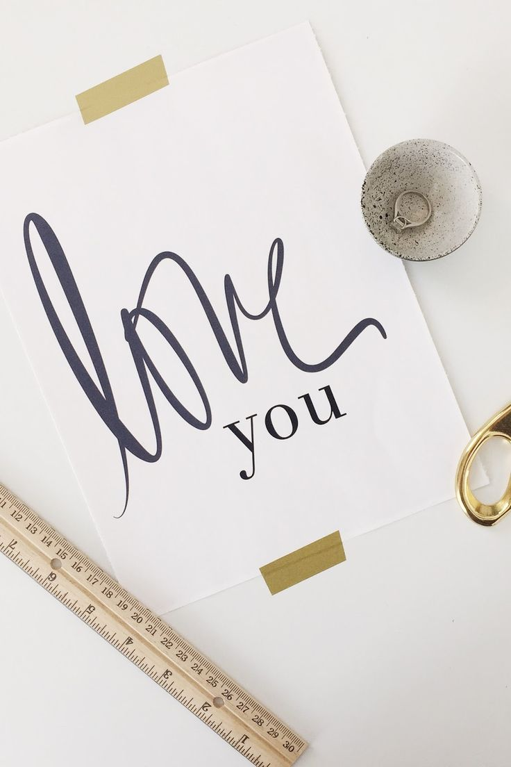 """Free Valentine's Day hand-lettered """"love you"""" printable."""