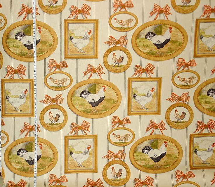 French chicken fabric orange gingham country from Brick House Fabric: Novelty Fabric
