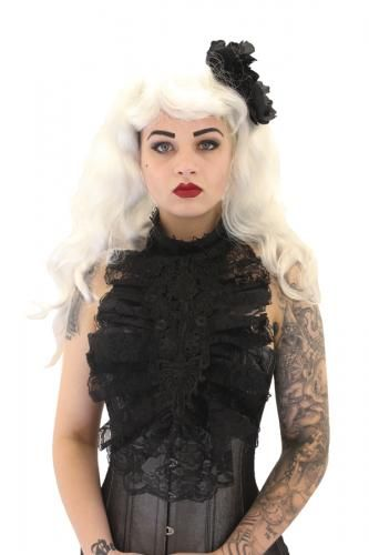 """Edwina long applique choker  This black soft choker has a 3""""/7.6cm wide black canvas strip with lace overlay that fastens around the neck with a long satin ribbon at the back. The 14""""/35.6cm long floral applique attaches to the choker with a 3""""/7.6cm pleated ruffle lace surrounding the applique.  Available in Black only.  $25.95"""