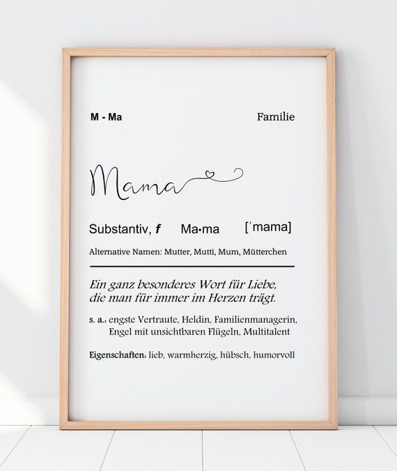 Art print Mama definition with heart