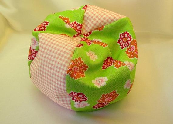 Pink Check and Green Floral Bean Bag chair by jillsfabricdesigns, $10.00