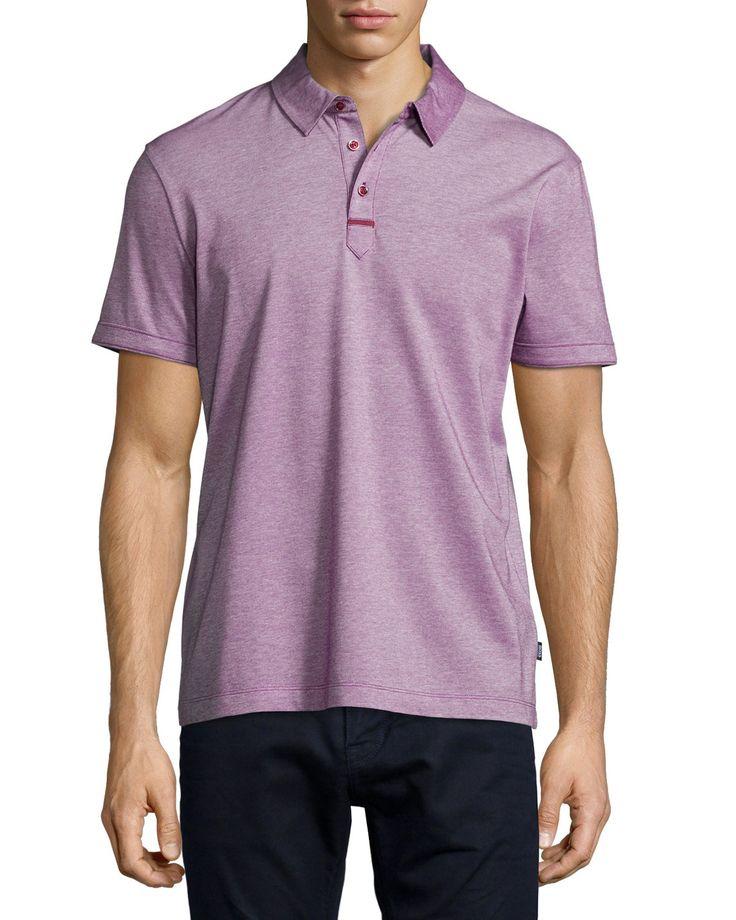 Rapino Slub Short-Sleeve Polo Shirt, Red, Size: SMALL - Boss Hugo