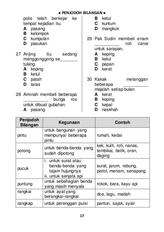 300 Soalan Penjodoh Bilangan Malay Language Language Makanan Dan Minuman