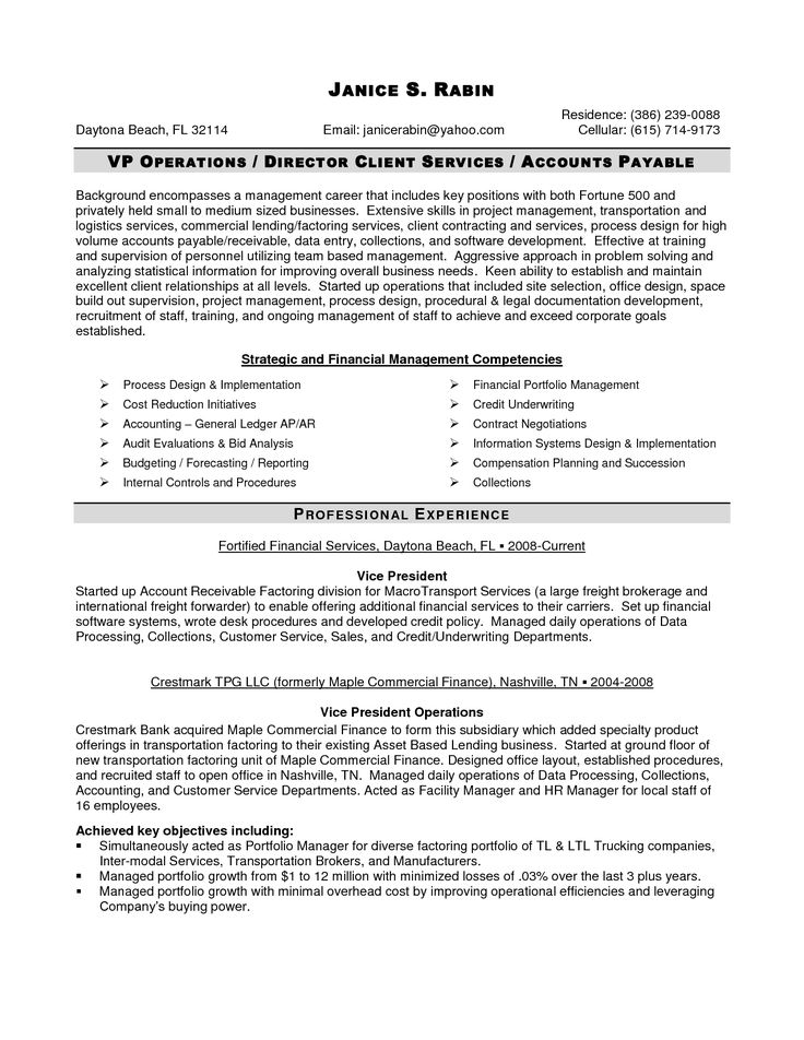 19 best resume images on Pinterest Sample resume, Management and - finance resumes