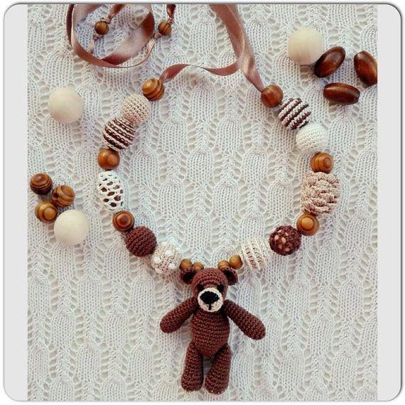 Sling necklace sling beads teething beads bear for por OmGanchillo