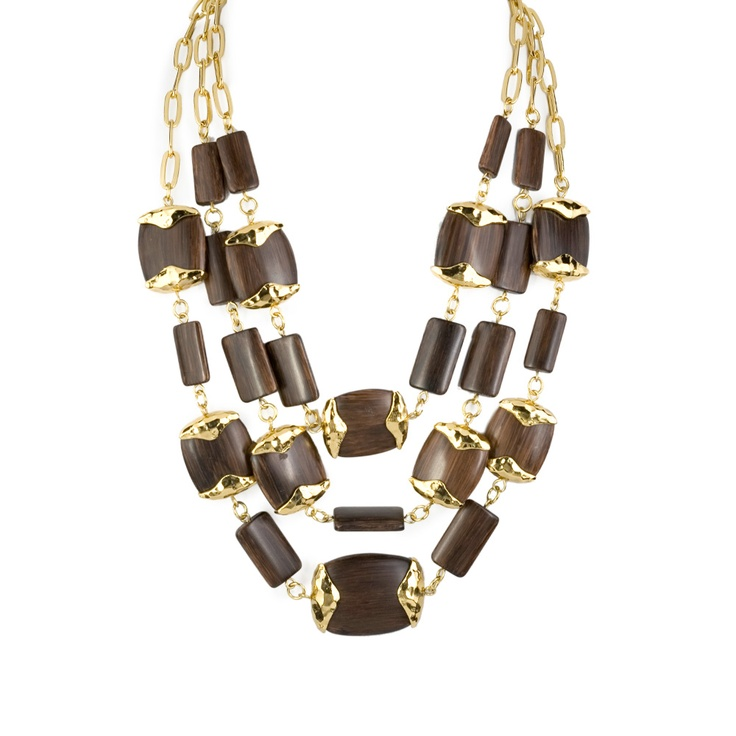 Three Row Wood Necklace