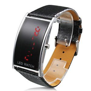 Tanboo Black PU Leather Band Elagant Women Silvery Frame Red LED Wrist Watch by Tanboo Watchs. $9.99. Sports Fan Watch. Gender:Women'sMovement:LEDDisplay:DigitalStyle:Wrist WatchesType:Fashionable Watches, Casual WatchesBand Material:PUBand Color:BlackCase Diameter Approx (cm):4.9 x 2.8Case Thickness Approx (cm):1Band Length Approx (cm):24.5