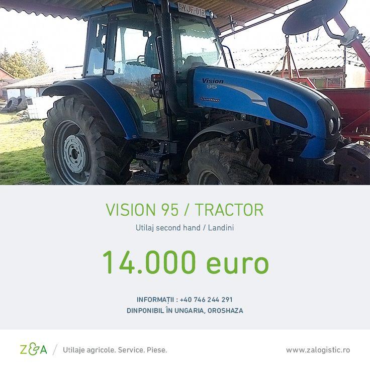 Îți propunem un tractor second-hand Landini Vision 95 din anul 2007, în stare foarte bună, care are 6.800 de ore de funcționare și unic proprietar.