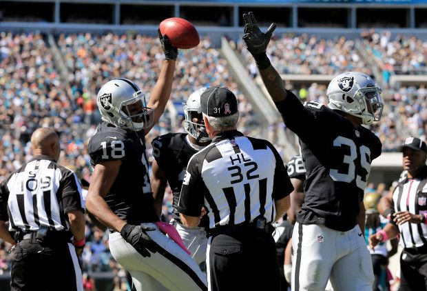Raiders vs. Jaguars:     October 23, 2016  -  33-16, Raiders  -    Andre Holmes #18 of the Oakland Raiders celebrates a fumble recovery against the Jacksonville Jaguars during the game at EverBank Field on October 23, 2016 in Jacksonville, Florida.  (Photo by Sam Greenwood/Getty Images)